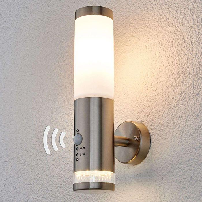 Buitenlamp-RVS-met-bewegingssensor-IP44-incl.-LED---Binka
