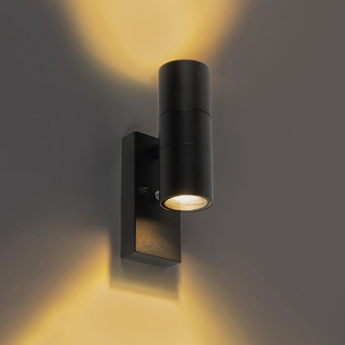 Buitenwandlamp-zwart-met-licht-donker-sensor-IP44---Duo