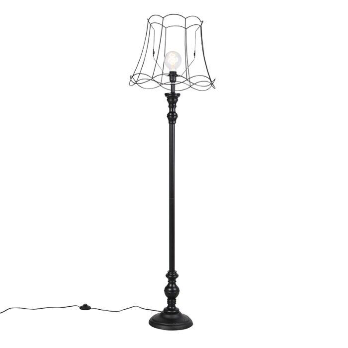 Vloerlamp-zwart-met-Granny-Frame-kap-45-cm---Classico