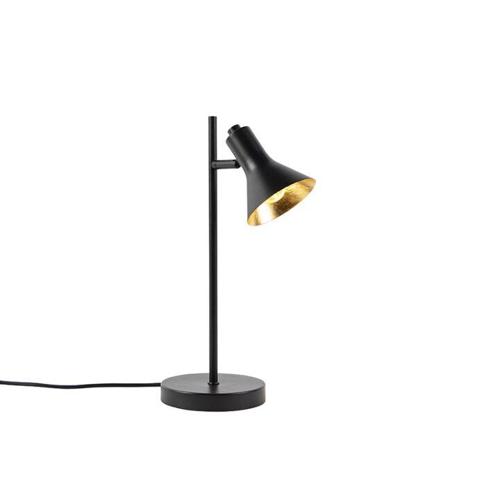 Moderne-tafellamp-zwart-met-goud-1-lichts---Magno