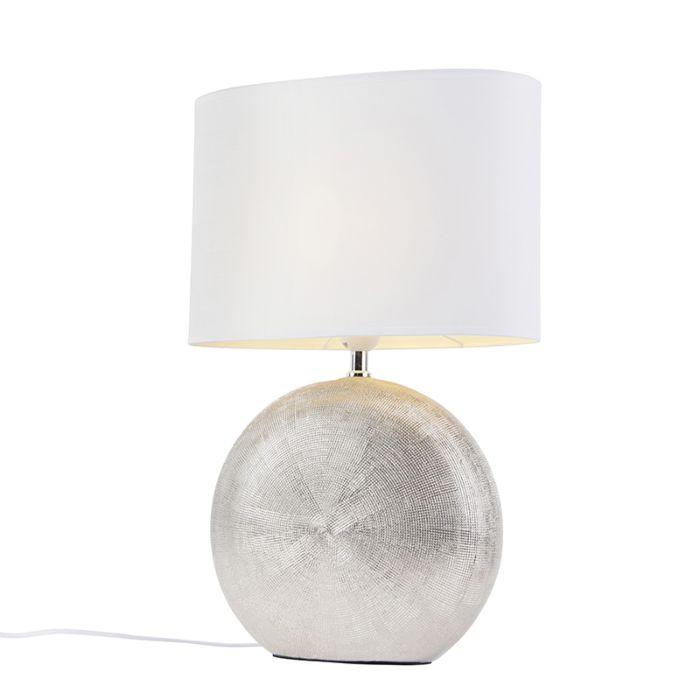 Tafellamp-zilver-met-witte-kap-34-cm---Cleo