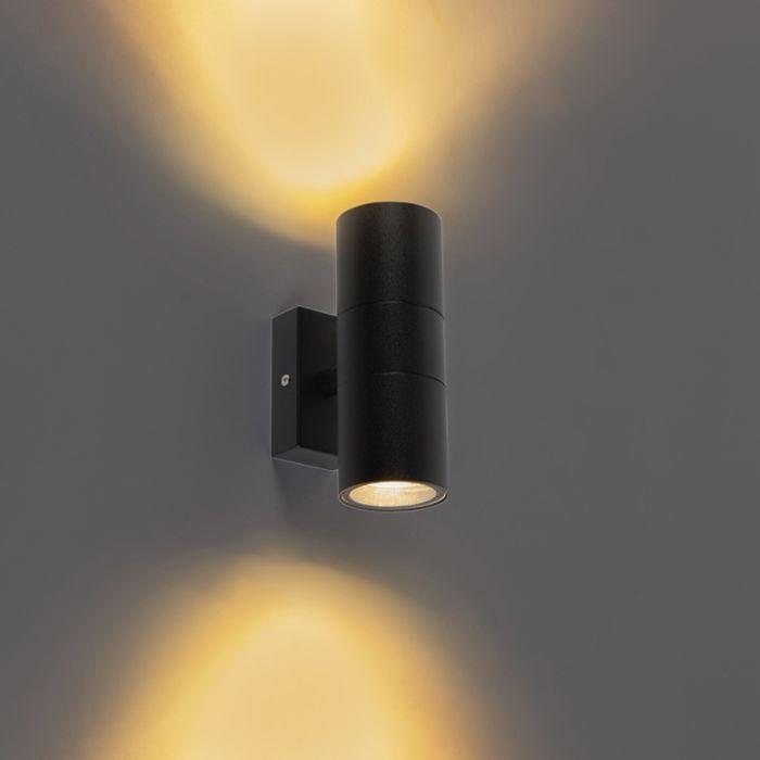 Buitenwandlamp-zwart-IP44-2-lichts---Duo