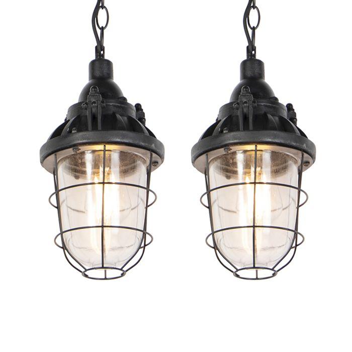 Set-van-2-industriële-hanglampen-zwart---Cabin