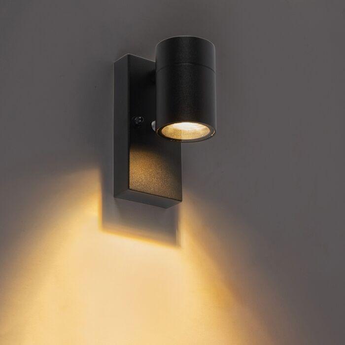 Buitenwandlamp-zwart-met-licht-donker-sensor-IP44---Solo
