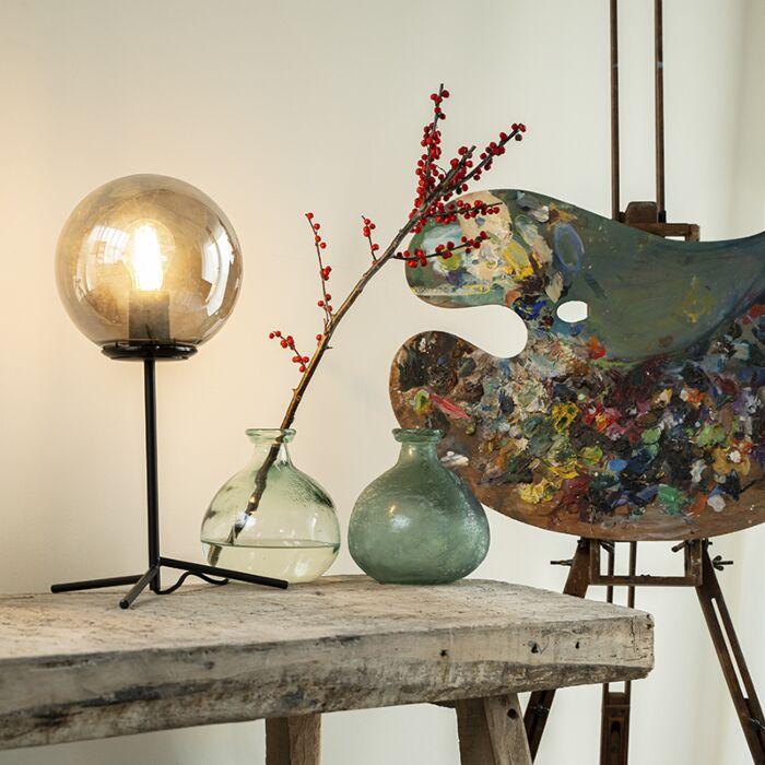 Art-deco-tafellamp-zwart-met-smoke-glas-45,5-cm---Pallon