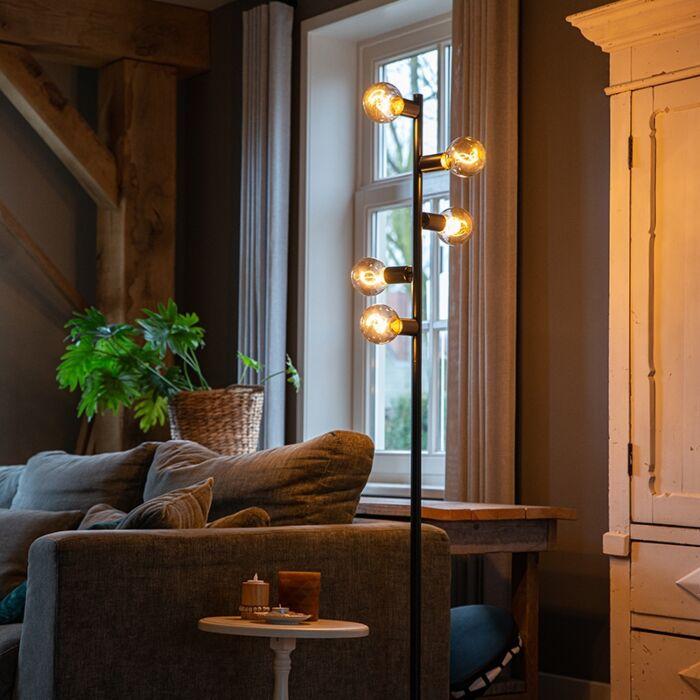 Scandinavische-vloerlamp-zwart-5-lichts---Facil-Tube