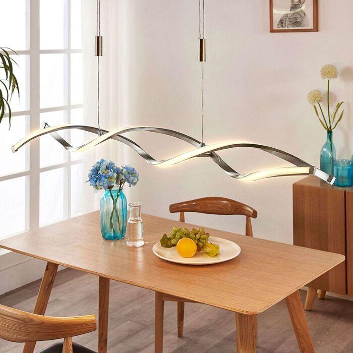 Moderne-hanglamp-aluminium-incl.-LED-en-dimmer---Auron