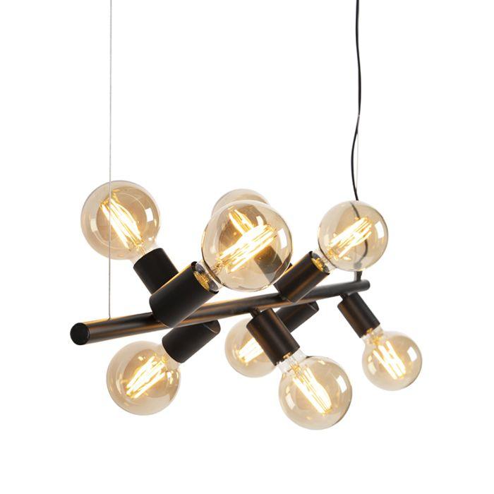 Scandinavische-hanglamp-zwart-8-lichts---Facil-Tube