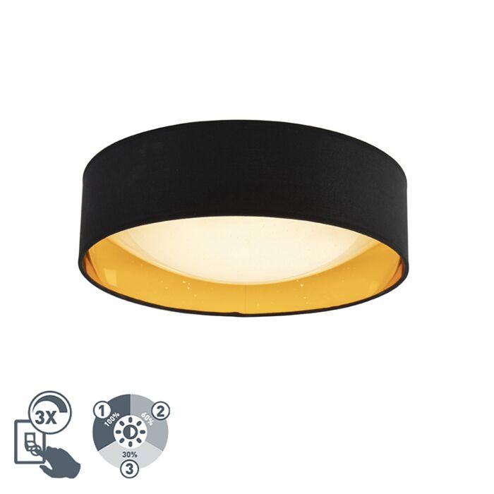 Design-plafonnière-zwart-met-goud-40-cm-incl.-LED---Drum-Combi