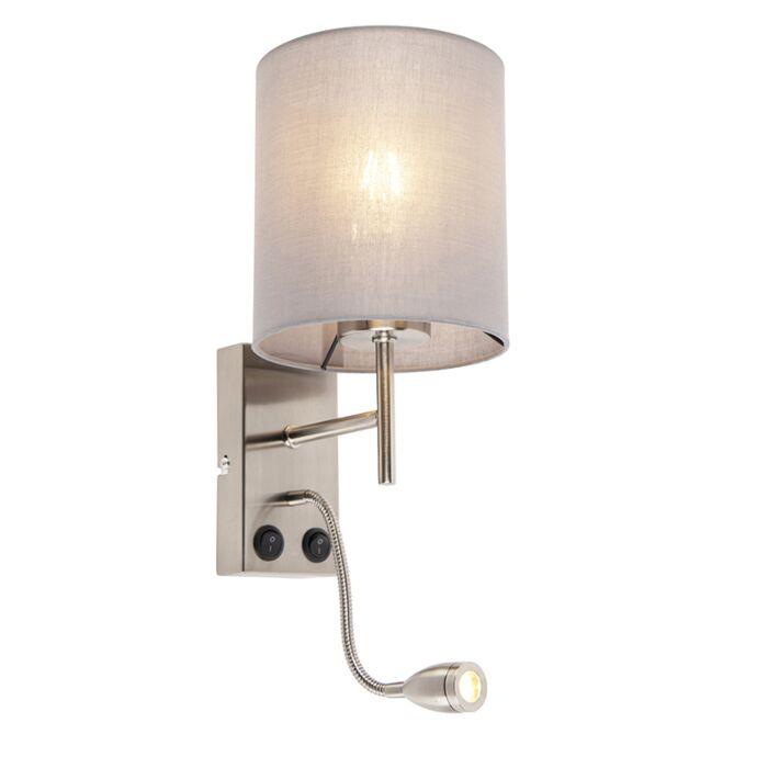 Moderne-wandlamp-staal-met-katoenen-grijze-kap---Stacca