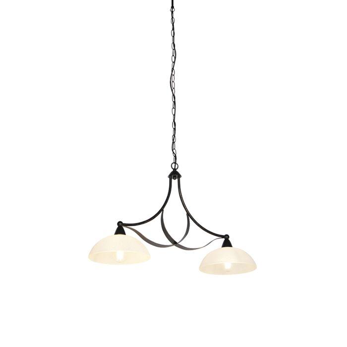 Klassieke-hanglamp-bruin-met-opaal-glas-2-lichts---Unik