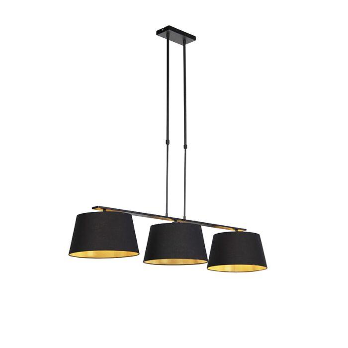 Hanglamp-met-katoenen-kappen-zwart-met-goud-32cm---Combi-3-Deluxe