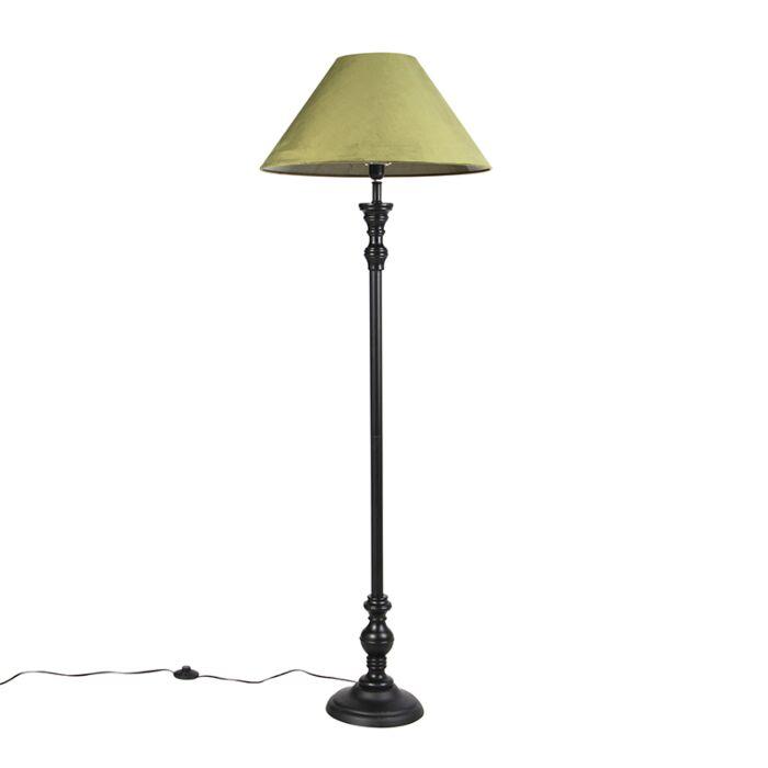 Vloerlamp-zwart-met-velours-kap-groen-55-cm---Classico