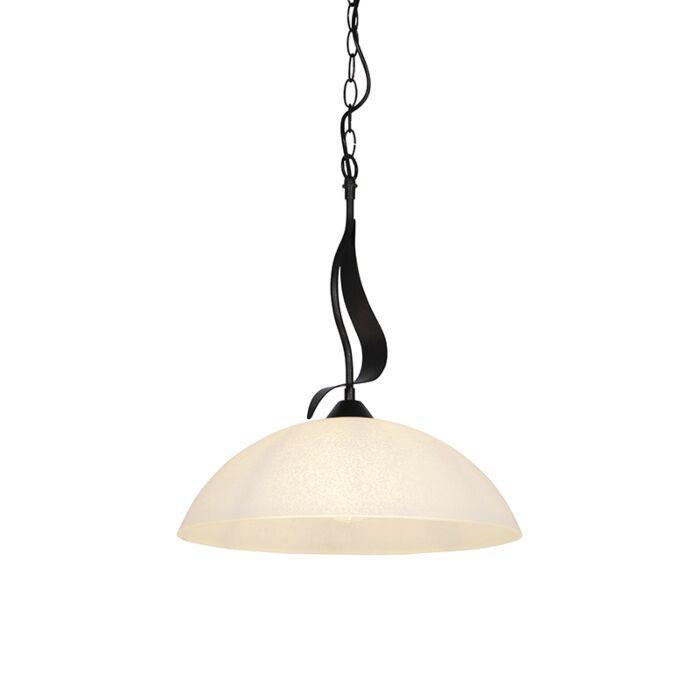 Klassieke-hanglamp-bruin-met-opaal-glas---Unik