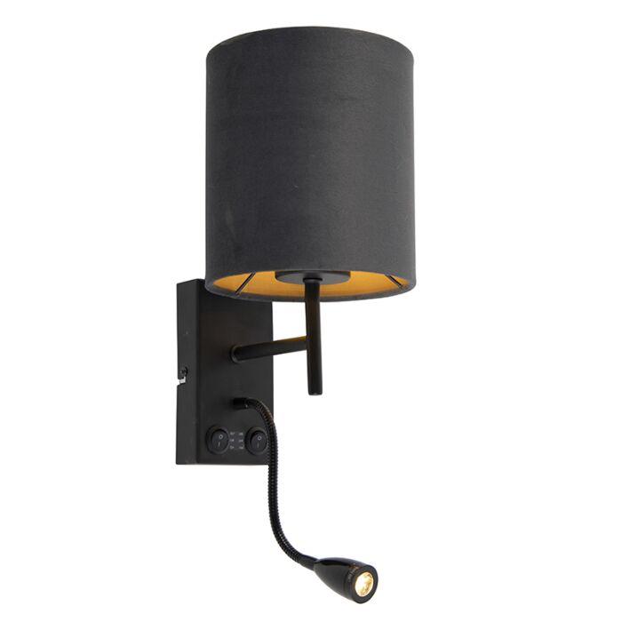 Art-Deco-wandlamp-zwart-met-velours-donkergrijze-kap---Stacca