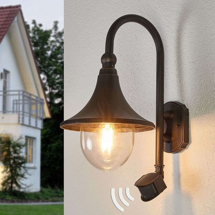 Buitenlamp-roestbruin-met-bewegingssensor-IP44---Daphne