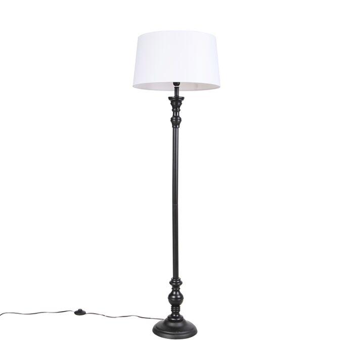 Vloerlamp-zwart-met-linnen-kap-wit-45cm---Classico