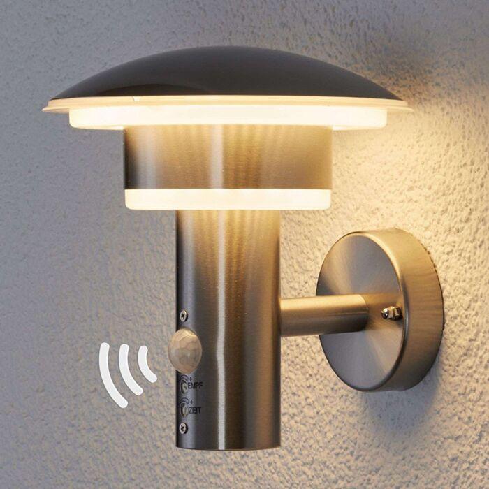 Ronde-buitenlamp-RVS-met-bewegingssensor-incl.-LED---Lillie