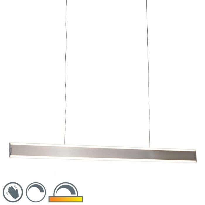 Moderne-hanglamp-staal-incl.-LED-100-cm-dim-to-warm---Ollie