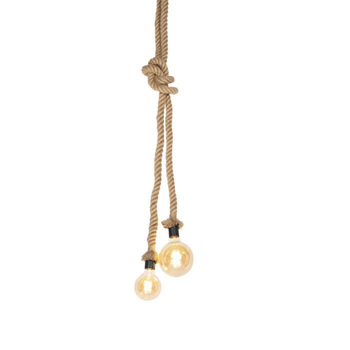 Landelijke-hanglamp-van-touw-2-lichts---Ropa