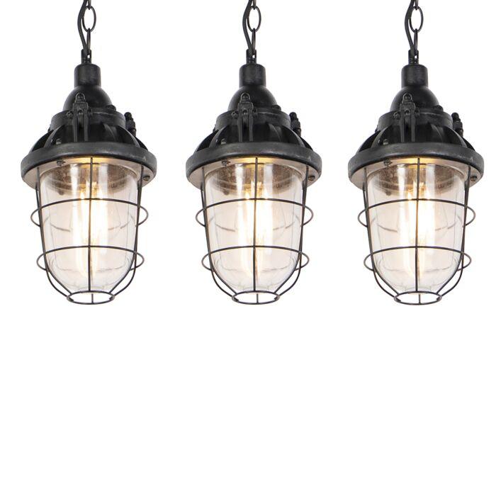 Set-van-3-industriele-hanglampen-zwart---Cabin