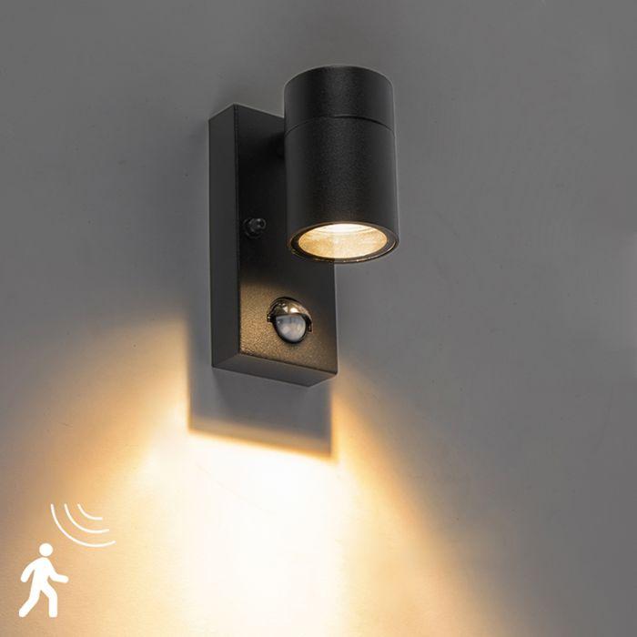 Buitenwandlamp-zwart-met-bewegingssensor-IP44---Solo