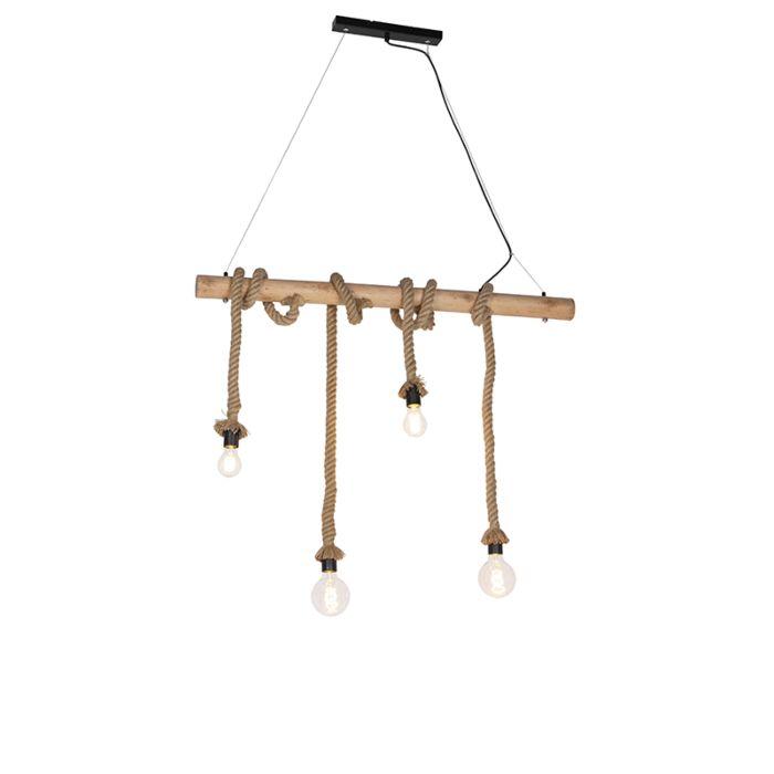 Landelijke-hanglamp-met-hout-4-lichts---Ropa