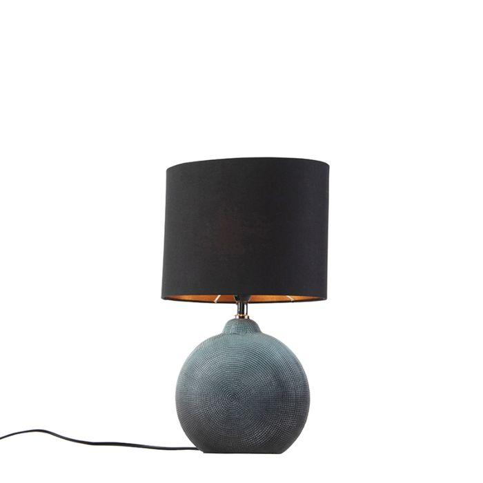 Tafellamp-blauw-met-zwarte-kap-23-cm---Cleo