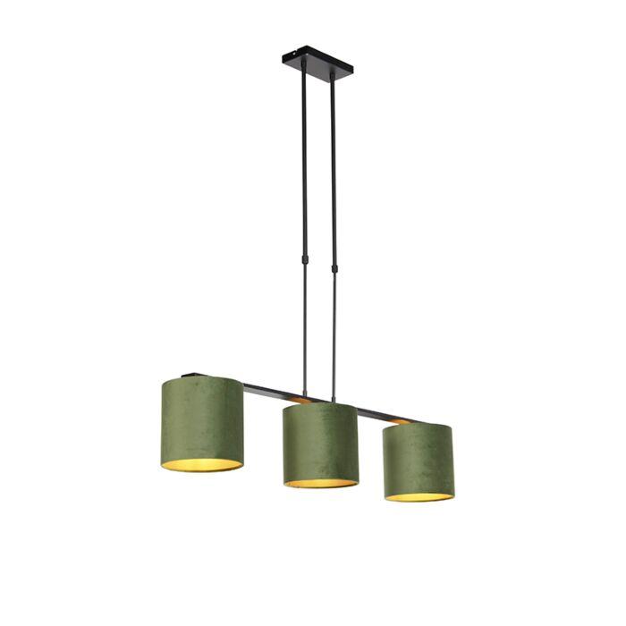 Hanglamp-met-velours-kappen-groen-met-goud-20cm---Combi-3-Deluxe
