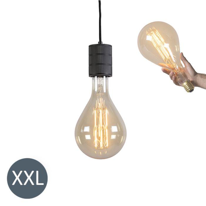 Hanglamp-Splash-zwart-met-dimbare-LED-lamp