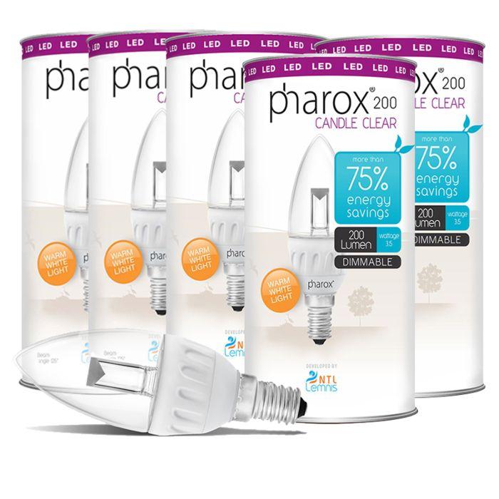 Set-van-5-Pharox-LED-lampen-E14-kaars-3.5W-200lm-helder-dimbaar