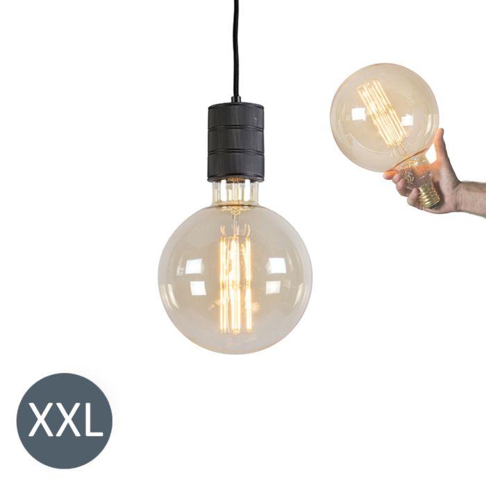 Hanglamp-Megaglobe-zwart-met-dimbare-LED-lamp