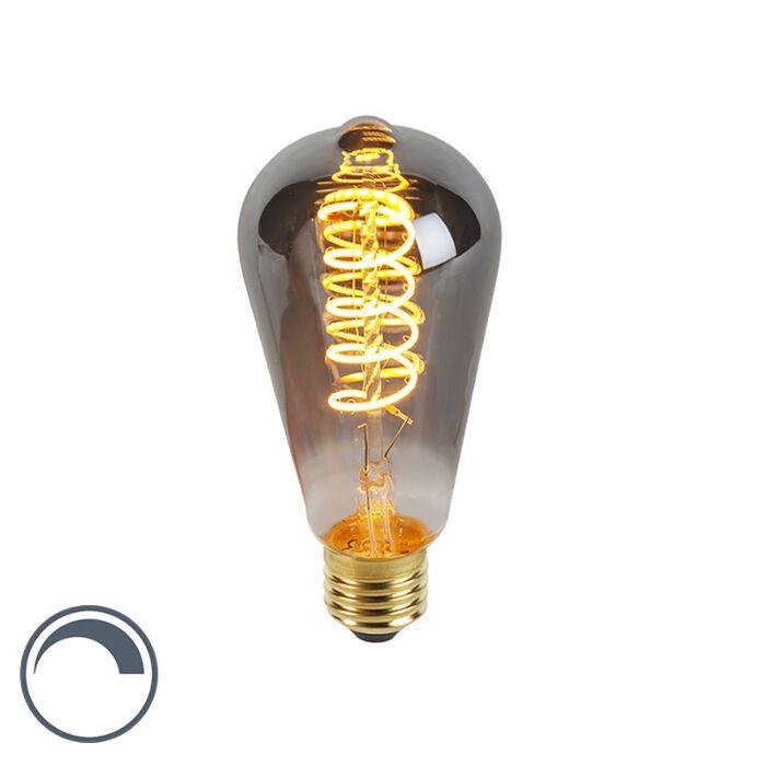 E27-dimbare-LED-gedraaid-filament-lamp-smoke-ST64-100-lm-2100K