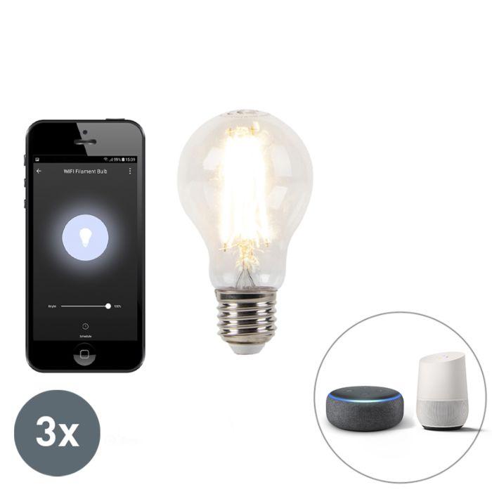 Set-van-3-E27-dimbare-LED-lamp-Wifi-Smart-met-app-7W-800lm-2700K