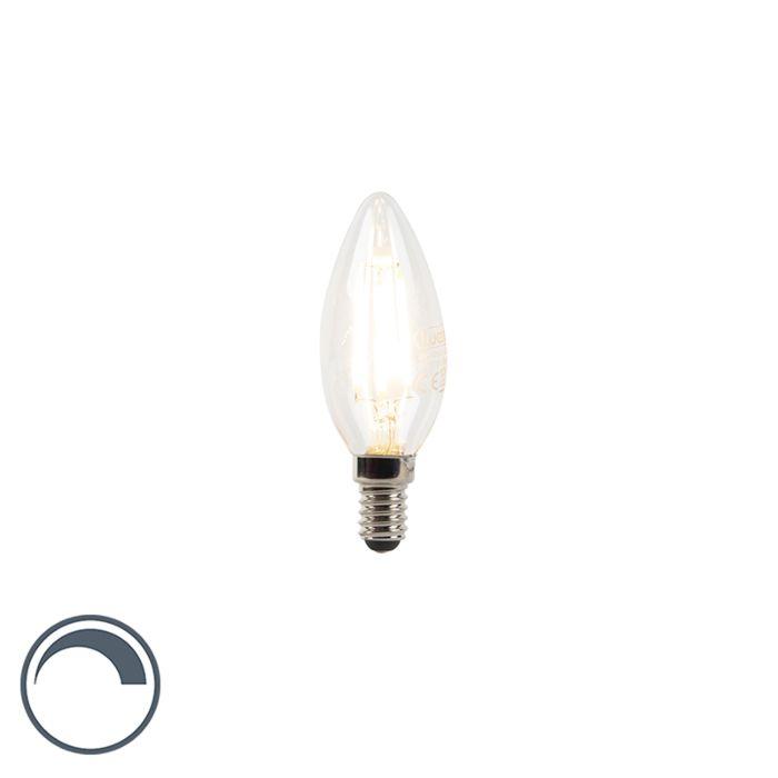 LED-filament-kaarslamp-E14-240V-3W-300lm-B35-dimbaar