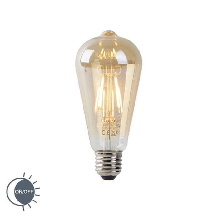 LED-filament-ST64-4W-2200K-goud-met-licht-donker-sensor