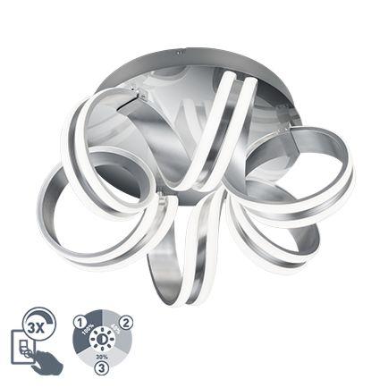 Design-plafondlamp-zilver-3-staps-dimbaar-incl.-LED---Filum