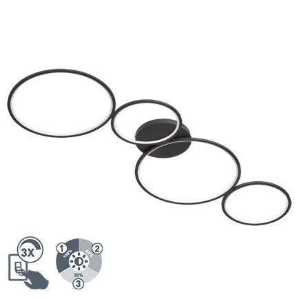 Design-plafondlamp-zwart-incl.-LED-3-staps-dimbaar---Lupolo
