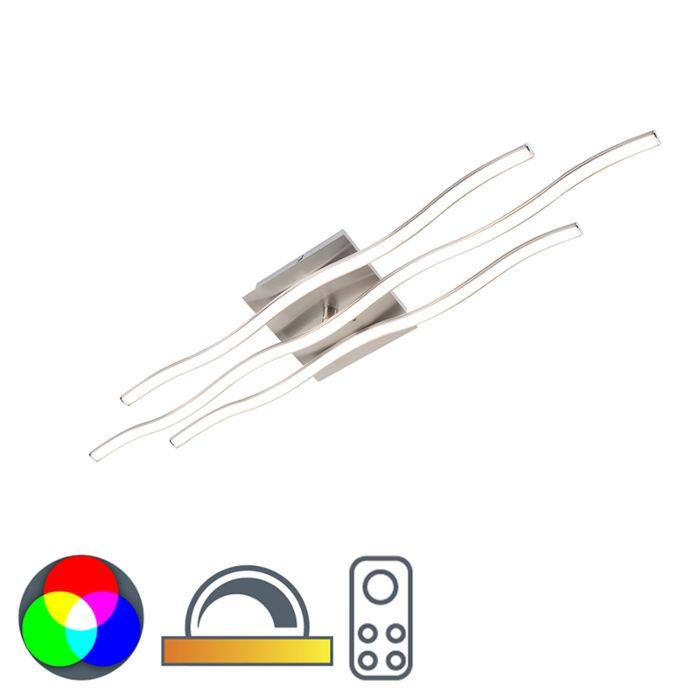 Plafondlamp-staal-incl.-RGB-LED-en-afstandsbediening---Onda-groot
