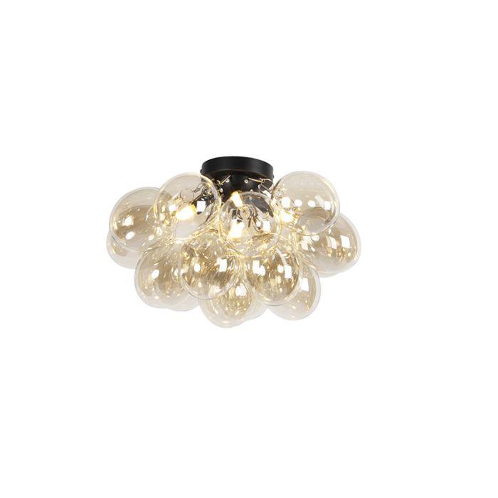 Design-plafondlamp-zwart-met-amber-glas-4-lichts---Uvas