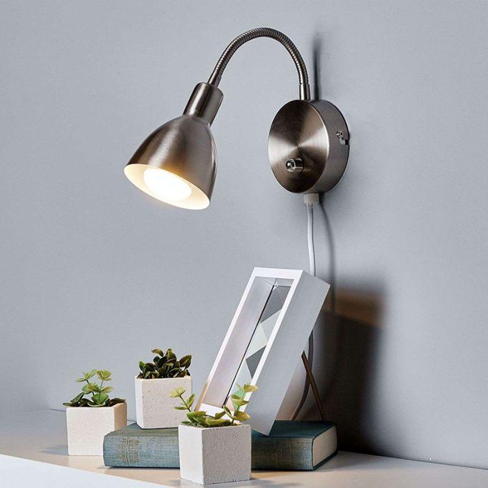 Retro-wandlamp-staal-incl.-dimmer-en-flexarm---Amrei