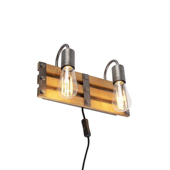 Industriele-wandlamp-antiek-staal-met-hout-2-lichts---Paleta