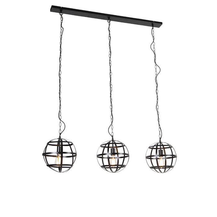 Industriële-hanglamp-zwart-3-lichts---Boula