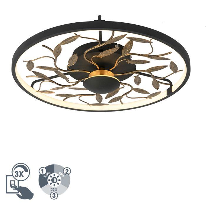 Art-Deco-plafonnière-zwart-met-goud-3-staps-dimbaar---Bota