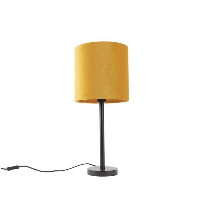 Art-Deco-tafellamp-zwart-met-gele-kap-25-cm---Simplo