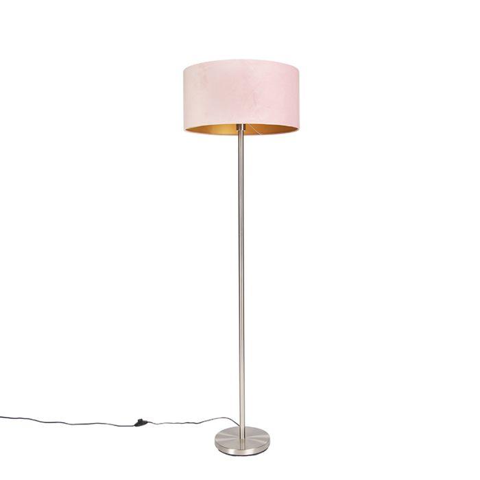 Vloerlamp-staal-met-roze-kap-50-cm---Simplo