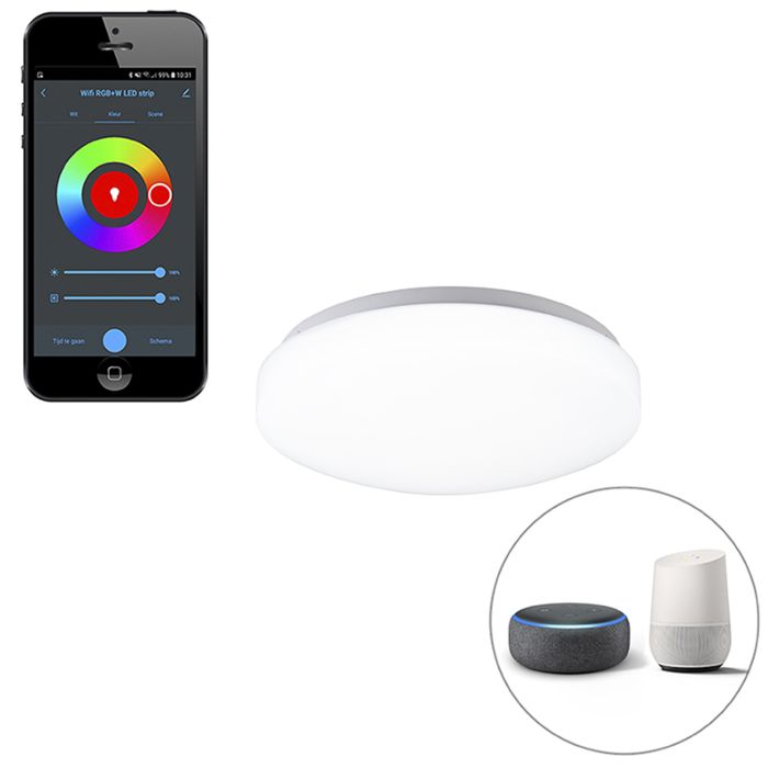 Moderne-smart-plafonnière-wit-incl.-LED-met-app---Marti