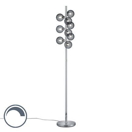 Art-deco-vloerlamp-staal-dimbaar-met-smoke-glas-9-lichts---Fon