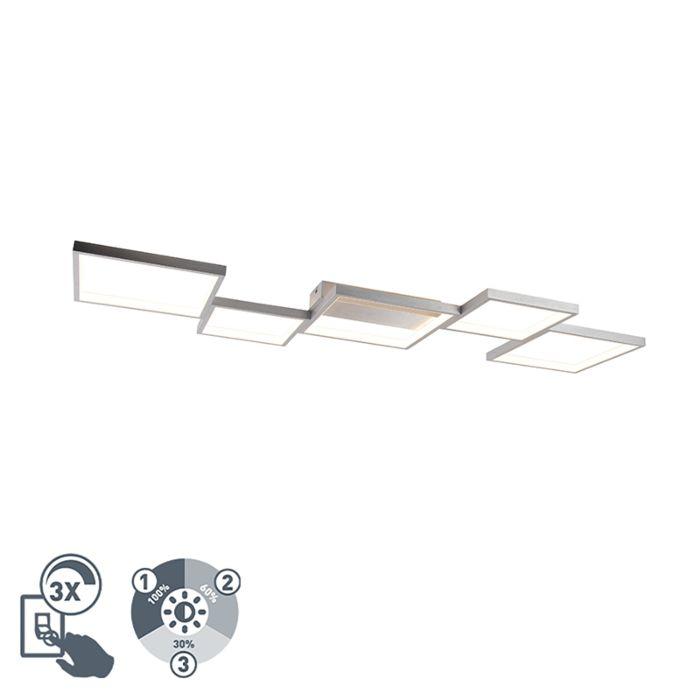 Plafonnière-aluminium-5-lichts-incl.-LED-dimbaar---Lejo