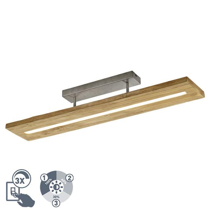 Landelijke-plafondlamp-hout-incl.-LED-3-staps-dimbaar---Linc
